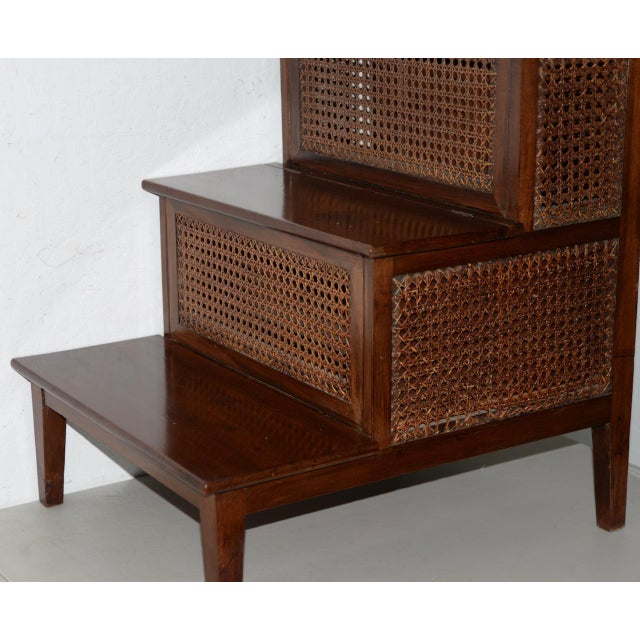 Caning 18th to 19th Century French Mahogany & Cane Steps For Sale - Image 7 of 9