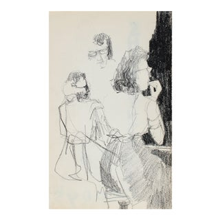 Petite Female Figurative Study Charcoal 1950-60s For Sale