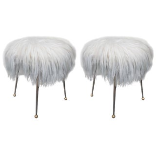 Pair of Vintage Fur Stools For Sale