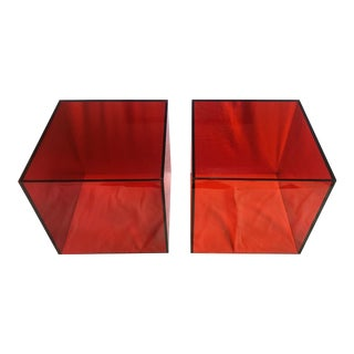 Haziza Lucite Cube Side Tables in Tomato Red, a Pair For Sale