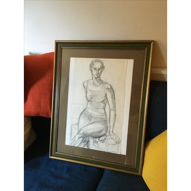 Framed Vintage Drawing of a Woman - Image 6 of 7