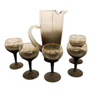 Mad Men Era Black Frosted and Clear Glass Martini Pitcher & Glasses For Sale