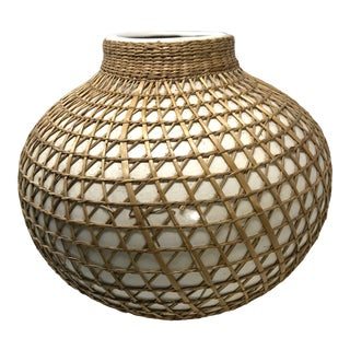 Nam-Hanh Vietnamese Pottery Rattan Wrapped Vessel For Sale