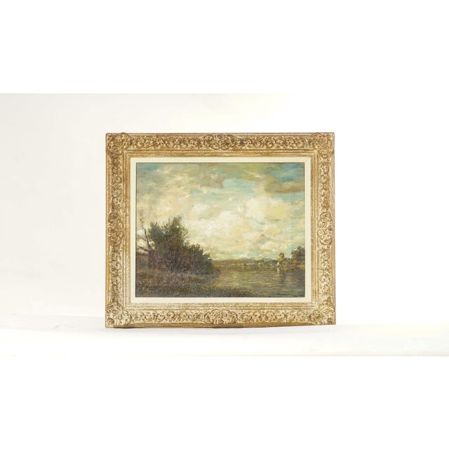 19th Century Oil on Canvas, Listed Artist Landscape For Sale - Image 4 of 4