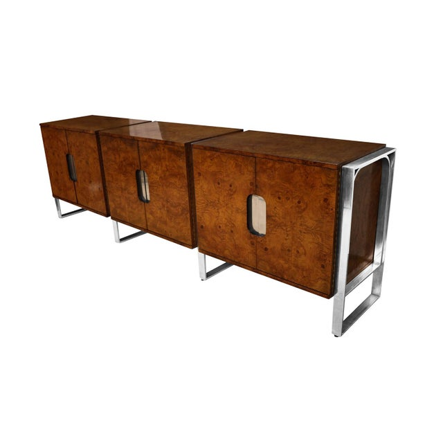 Gorgeous Mid-Century Modern beautifully grained burl wood triple sideboard/ buffet from the Pace Collection. This is a...