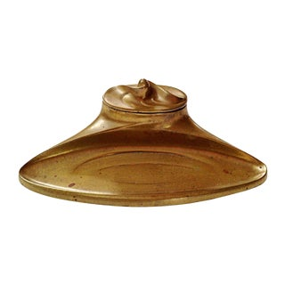 Art Nouveau Brass Inkwell