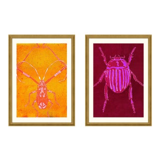 Beetle & Bug Diptych, Bright Series no. 2 & 4 by Jessica Molnar in Gold Frame, Medium Art Print For Sale