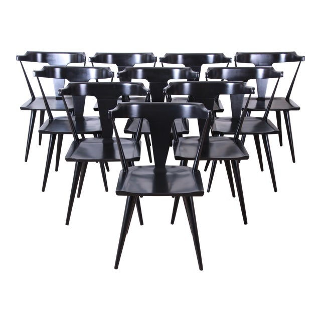Paul McCobb Planner Group T-Back Black Lacquered Solid Maple Dining Chairs, Set of Ten For Sale