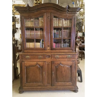 Circa 1760 French Provincial Oak Dresser Cabinet With Glass Doors and Shelving Preview