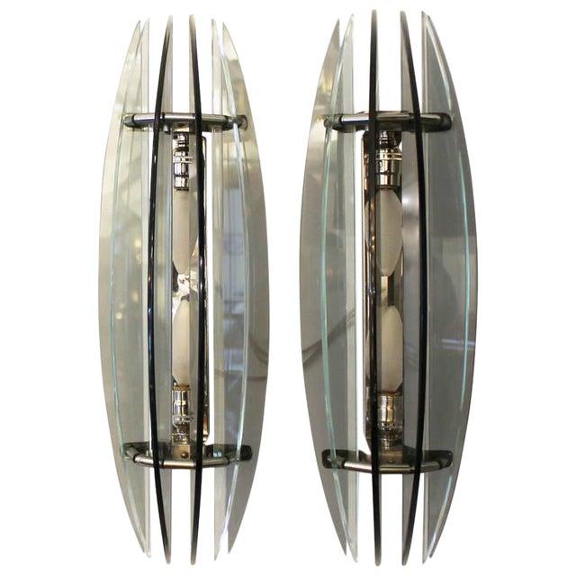 Large Pair of Italian Veca Bi-Color Glass Sconces For Sale