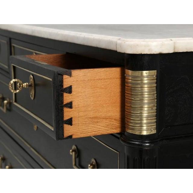 Wood French Louis XVI Ebonized Finish Commode For Sale - Image 7 of 11