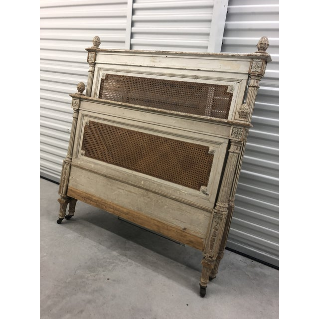 19th Century Antique French Cane Twin Headboard and Footboard - 2 Pieces For Sale - Image 5 of 10