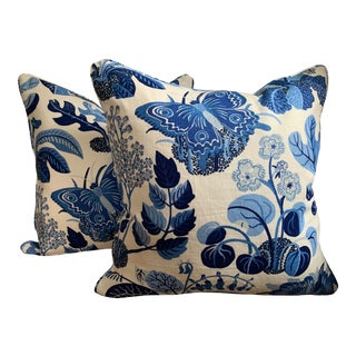 Contemporary Schumacher Exotic Butterfly / Marine Pillows - a Pair, 17683 For Sale
