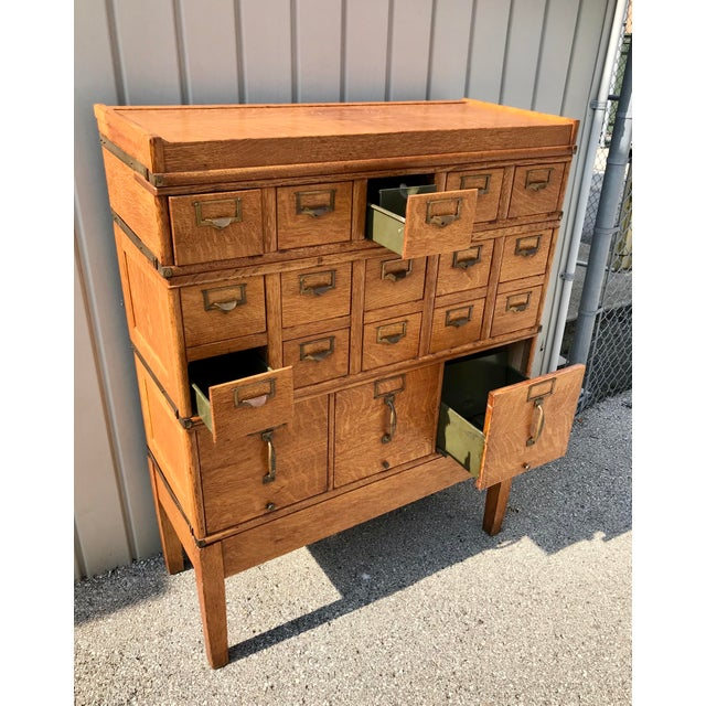 Antique Globe-Wernicke Arts and Crafts Era Tiger Oak Library Card Catalog Filing Cabinet For Sale - Image 10 of 13