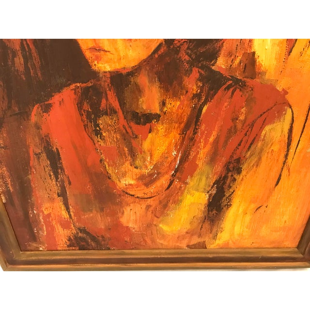 Paint Mid-Century Original Portrait of a Woman Painting For Sale - Image 7 of 13
