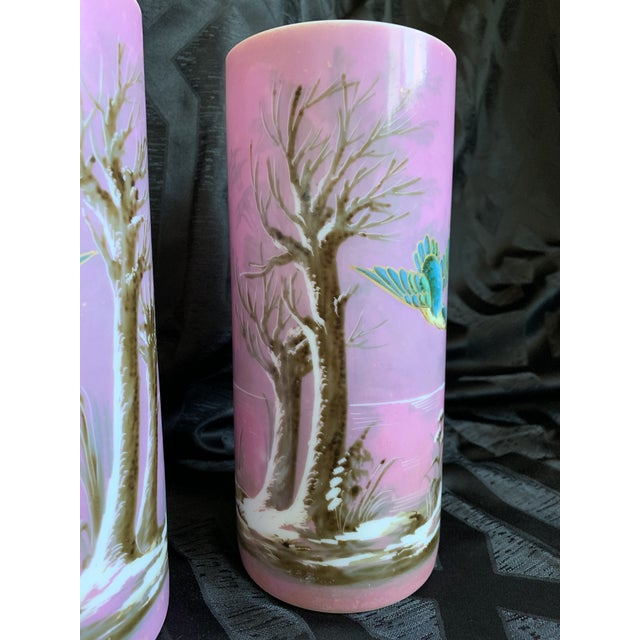 Mid 19th Century 19th Century French Baccarat Opaline Pink & White Glass Vases - a Pair For Sale - Image 5 of 13