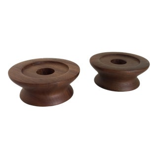 Mid-Century Modern Walnut Kustom Kraft Candle Holders- Pair For Sale