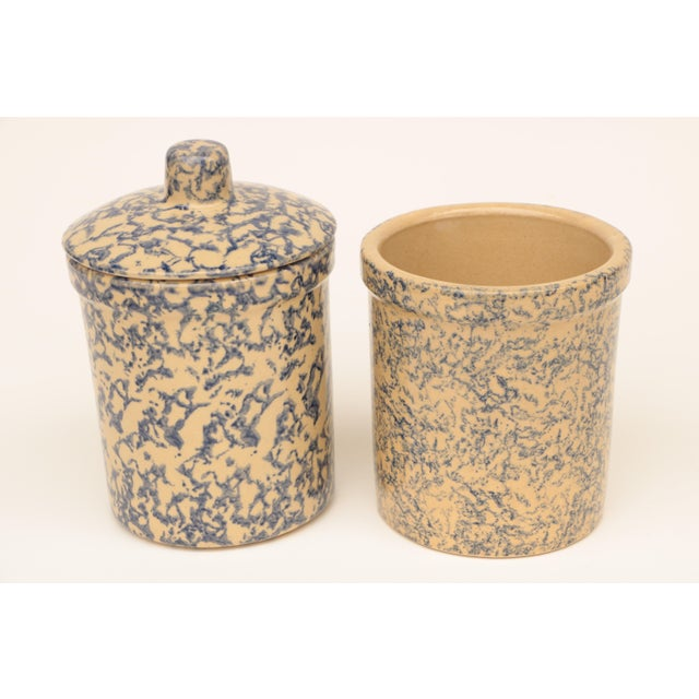 Robinson Ransbottom Pottery Co. Blue Spongeware Pottery Instant Collection - Set of 11 For Sale - Image 4 of 8