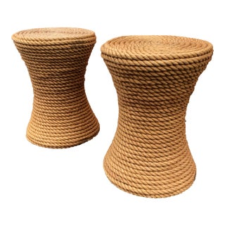 1970s Boho Chic Rope Side Tables - a Pair For Sale