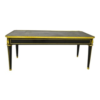 Maison Jansen Chicest Black Coffee Table With Gold Bronze and Leather Top For Sale