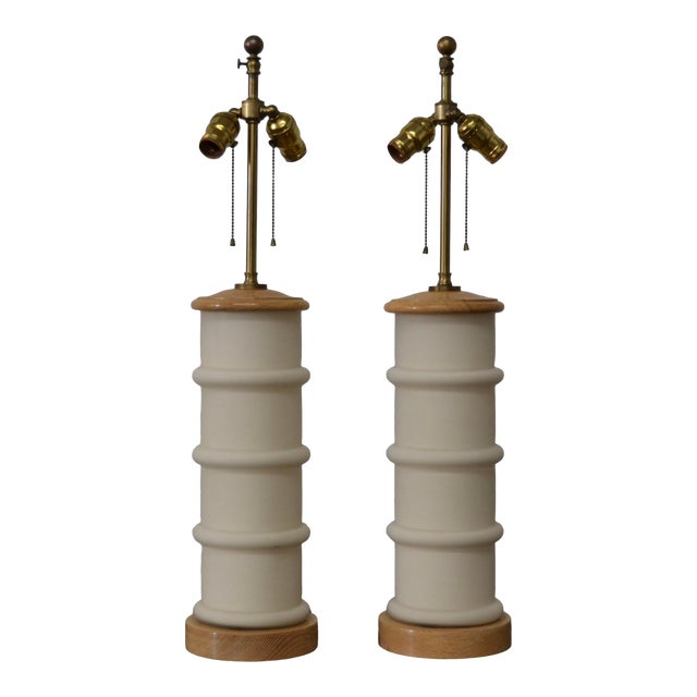 1940s Modernist White Glass & Oak Table Lamps - a Pair For Sale