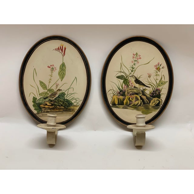 These pair of beautiful Wall Sconces/Candle holders were hand painted in Tole style in the mid 1950s. Founded in a state...