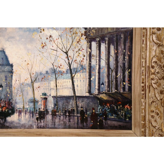 Pair of Mid-20th Century French Paris Paintings in Carved Frames Signed L. Dali For Sale - Image 9 of 12