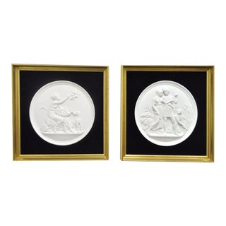 Framed Bisque Relief Eneret Wall Plaques - a Pair