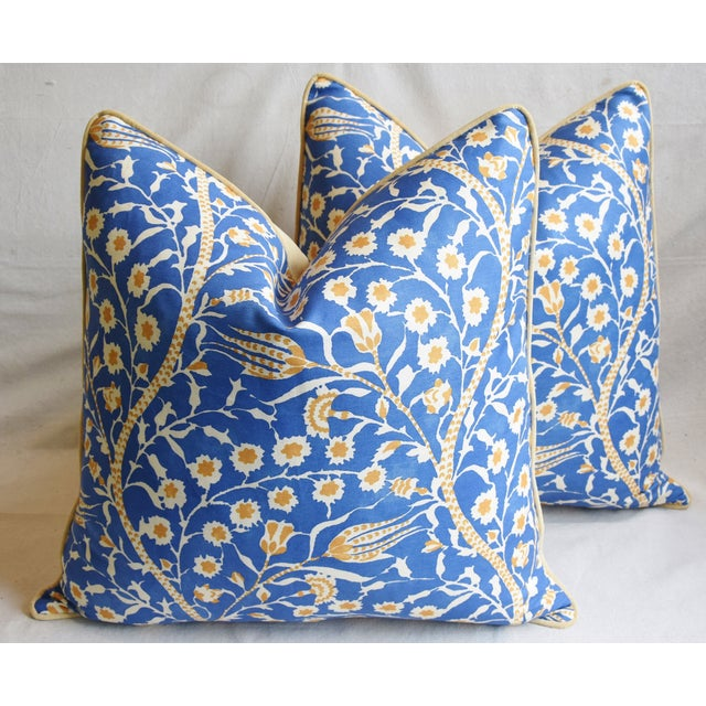 """Cotton Clarence House Floral Fabric Feather/Down Pillows 24"""" Square - Pair For Sale - Image 7 of 13"""