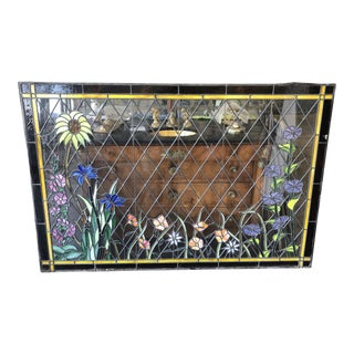 1920s Arts and Crafts Stained Leaded Glass Storybook Cottage Window For Sale