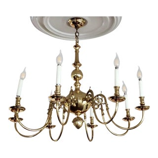 1990s Traditional Brass Eight Light Chandelier For Sale