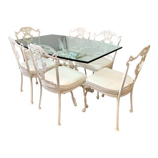 Signed Molla White Cast Aluminum 7 Pc Patio Dining Set, Table, 6 Chairs For Sale