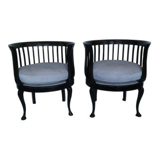 1950s Vintage Black Lacquer Chairs - A Pair For Sale