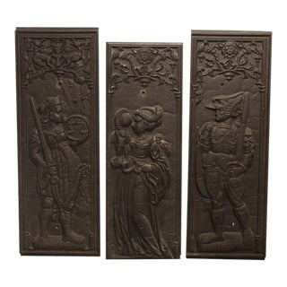 Rare Set of 17th Century Cast Iron French Fireplace Plaques, Justice, Prudence, and Courage