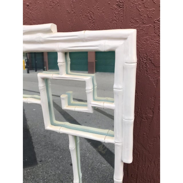 1970s Vintage Hollywood Regency White Greek Key and Faux Bamboo Vertical Mirror For Sale - Image 4 of 5