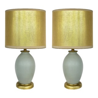 Celadon Ceramic Lamps W/ Shades & Brass Bases - a Pair For Sale