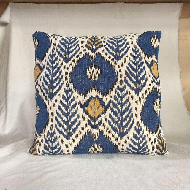 22 x 22 pillow in designer fabrics. Woven tan cotton/poly reverse, knife edge finish, hidden zipper closure and extra full...