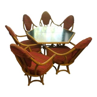 Mid Century Modern Bamboo Dining Set- 7 Pieces For Sale