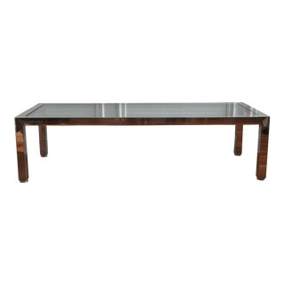 Pace Collection Chrome and Glass Top Coffee Table