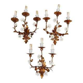 French Gold Tole Sconces With White Porcelain Flowers, 1920s - Set of 3 For Sale
