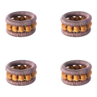 Berry Napkin Rings Lilac & Ochre - Set of 4 For Sale