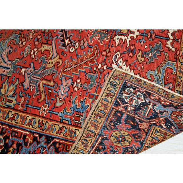 Textile 1900s, Handmade Antique Persian Heriz Rug For Sale - Image 7 of 12