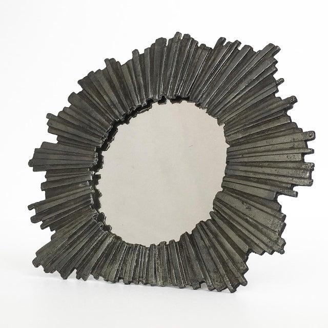 Brutalist Starburst Pewter Frame or Mirror For Sale In Chicago - Image 6 of 9