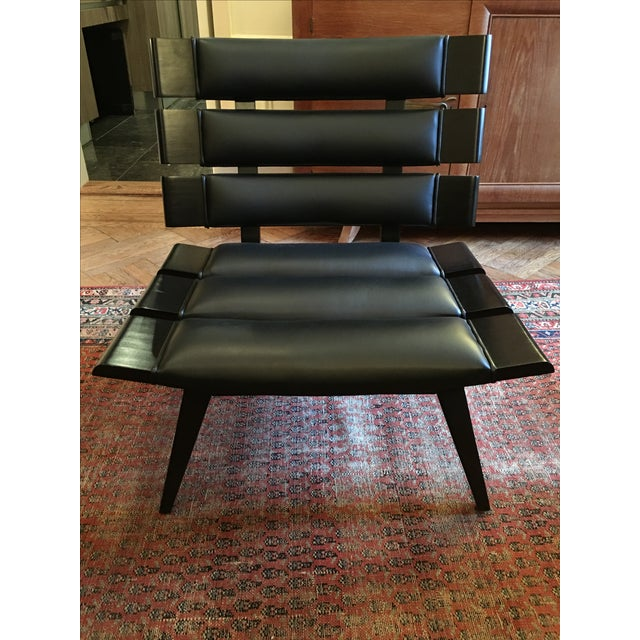 Arteriors Wood & Leather Slatted Chair - Image 3 of 6