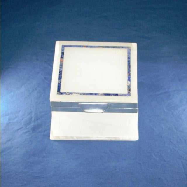 Metal Lapis Inlay Onyx Box For Sale - Image 7 of 13