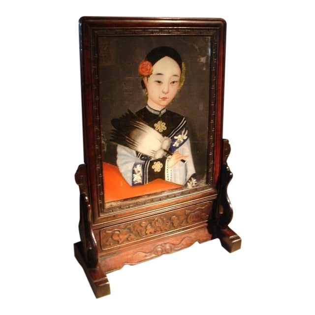 A Chinese Reverse Painted Glass and Hardwood Table Screen For Sale