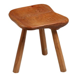 Franco Armand Solid Sculpted Wood Stool, Italy, 1966 For Sale