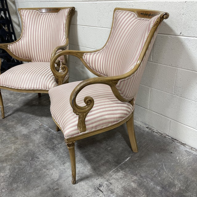French French Style Scrolled Arm Wood Carved Chairs - a Pair For Sale - Image 3 of 6