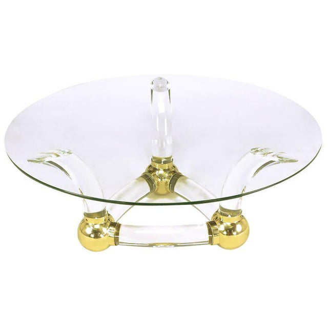 Gold Round Coffee Table With Thick Curved Lucite & Brass Ball Base For Sale - Image 8 of 8