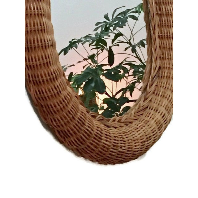 Vintage Natural Wicker Rattan Oblong Wall Mirror For Sale - Image 9 of 10